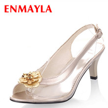 цена на ENMAYER  new heel summer dress shoes woman open toe sandals shoes woman high-heeled shoes sandals high heels Pumps size34-46