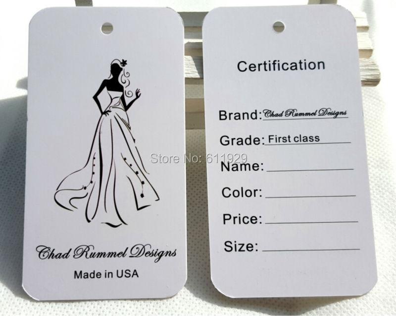 free shipping 500pcs a lot custom wedding dress paper hang tag