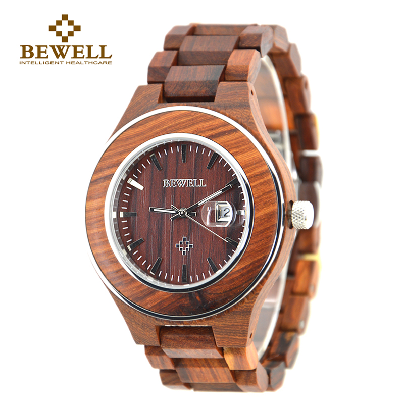 BEWELL Red Fashion Wood Watch Men Calendar Watch Mens Watches Top Brand Luxury  Role Luxury Watch Men With Gift Box 100AG bewell 2017 hot sale fashion wood watch men mens watches top brand luxury reloj hombre big horloges mannen with gift box 100ag