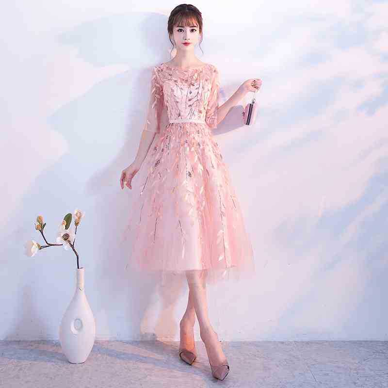 2019 New Short Evening Dresses Half Sleeve Pink Lace Sequins Appliques Ribbons Prom Gowns Ruched Party Dresses Vestido De Noche