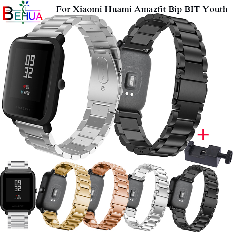 Wristband Metal Stainless Steel for Xiaomi Huami Amazfit Bip BIT Youth Strap Watch Band with Adjust Tool Replace Bracelet StrapsWristband Metal Stainless Steel for Xiaomi Huami Amazfit Bip BIT Youth Strap Watch Band with Adjust Tool Replace Bracelet Straps
