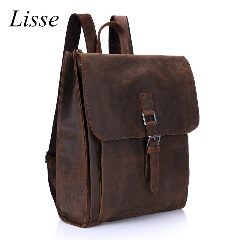 Fashion Genuine Leather Men Backpack High Quality Men's Travel Bags Preppy Style School Bag Casual Packs high quality genuine leather backpack women bag backpacks preppy style school bag for teenager girls fashion mochila travel bags