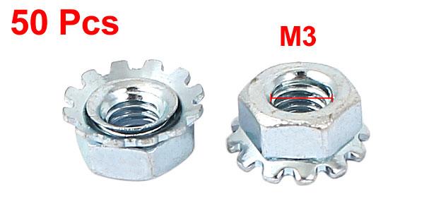 5mm Thread Dia Nickel Plated External Tooth K Lock Kep Nut Silver Tone 100Pcs