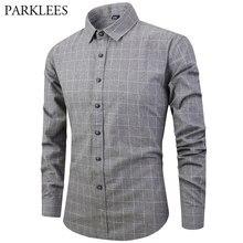 4279cc18fa Nova Marca Homens Camisa Casual Xadrez Estilo Preppy Masculino Cinza Camisas  100% Algodão Escovado Verificar