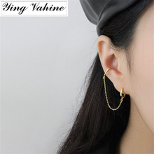 ying Vahine 100% 925 Sterling Silver Geometrical Round Square Long Tassels Ear