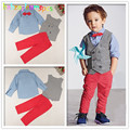 3Piece/2-7Years/Spring Autumn Baby Boys Clothes Gentleman Costume For Kids Suits Vest+Shirt+Pants Children Clothing Sets BC1039