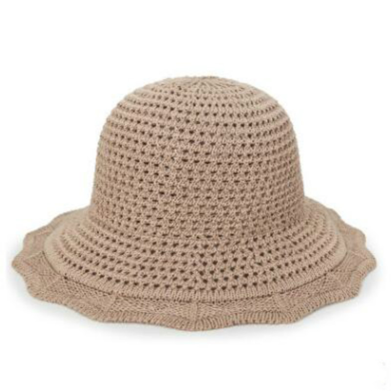 old women summer hat wide brim hollow knitted sun hat female large brim  beach cap casual crochet panama casquette drop shipping-in Sun Hats from  Apparel ... a0f76c06c69