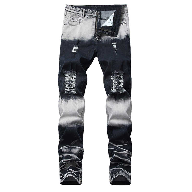 HEFLASHOR Hot Sales Straight Brand Men Ripped Jeans Trousers Fashion Brand Design Denim Pants  Retro Sexy Hole Ripped Jeans New