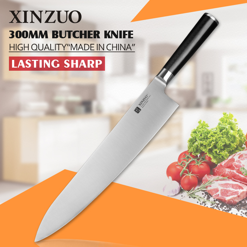 XINZUO 12 inch butcher font b knife b font 3 layer 440C clad steel chef font