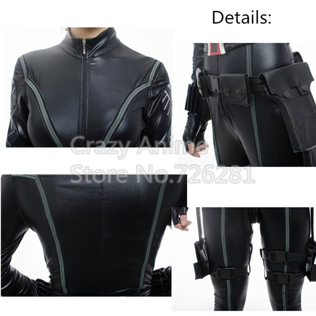 The Avengers Black Widow Costume Halloween Cosplay Costume Women Official Marvel Fancy Dress Party Sexy Black Jumpsuit Full Set 3