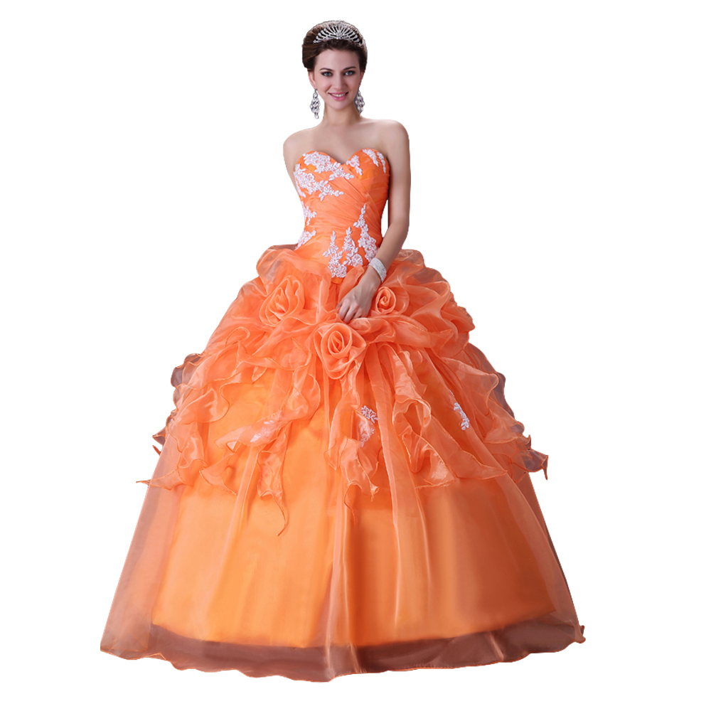 Free Shipping Grace Karin Strapless Orange Bridal Wedding Dress 2017 Sleeveless Formal Gown Long Bride Dresses 2518 In From Weddings