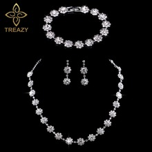 TREAZY Silver Plated Crystal Diamante Rhinestone Wedding Choker Necklace/Earrings/Bracelet Set for Women Bridal Jewelry Set