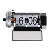Aço Inoxidável Relógio de Mesa moda Relógios Auto Flip Relógio Despertador Do Vintage Retro Clássico Moderno Casa Decoração Mesa Relógio Saat