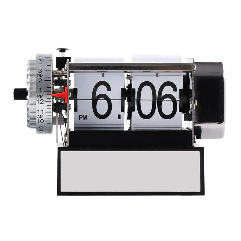 Mode Table Horloge Auto Flip Horloges En Acier Inoxydable Vintage Réveil Rétro Classique Montre Moderne Décor À La Maison Horloge De Bureau Saat