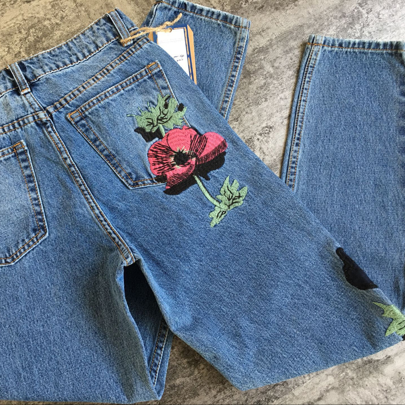 22bc42a715b1 Witsources women vintage high waisted jeans flower embroidery straight  casual denim pants SD4333-in Jeans from Women's Clothing on Aliexpress.com  | Alibaba ...
