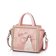 Women's Princess Pink Leather Convertible Trapeze Small Top Handle Tote Handbag Shoulder Bag Cross Body Purse Satchel