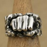 LINSION ручной работы стерлингового серебра 925 мощный кулак разбивающий камень мужское байкерское кольцо TA77 US Размер 7 ~ 15