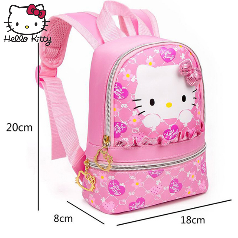 887a28e0dbf5 Hello Kitty Children s Backpack Cartoon Cute Baby Soft Pouch Cartoon Bow  Kawaii Large Capacity KT Travel Bag Toys Kindergarten-in Plush Backpacks  from Toys ...
