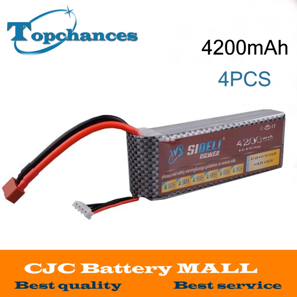 4pcs High Quality New 111v 4200mah 3s 30c Lipo Lippo 2200mah Tplug Battery For Rc Car Truck Helicopter Airplane Frame Kit With Xt60 T Plug