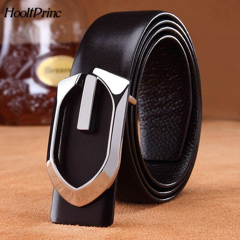 Neue Glatte Schnalle Männer Gürtel Rindsleder Leder Mode Luxus Hohe Qualität Legierung Länge Kann Eingestellt Gürtel Für Männer