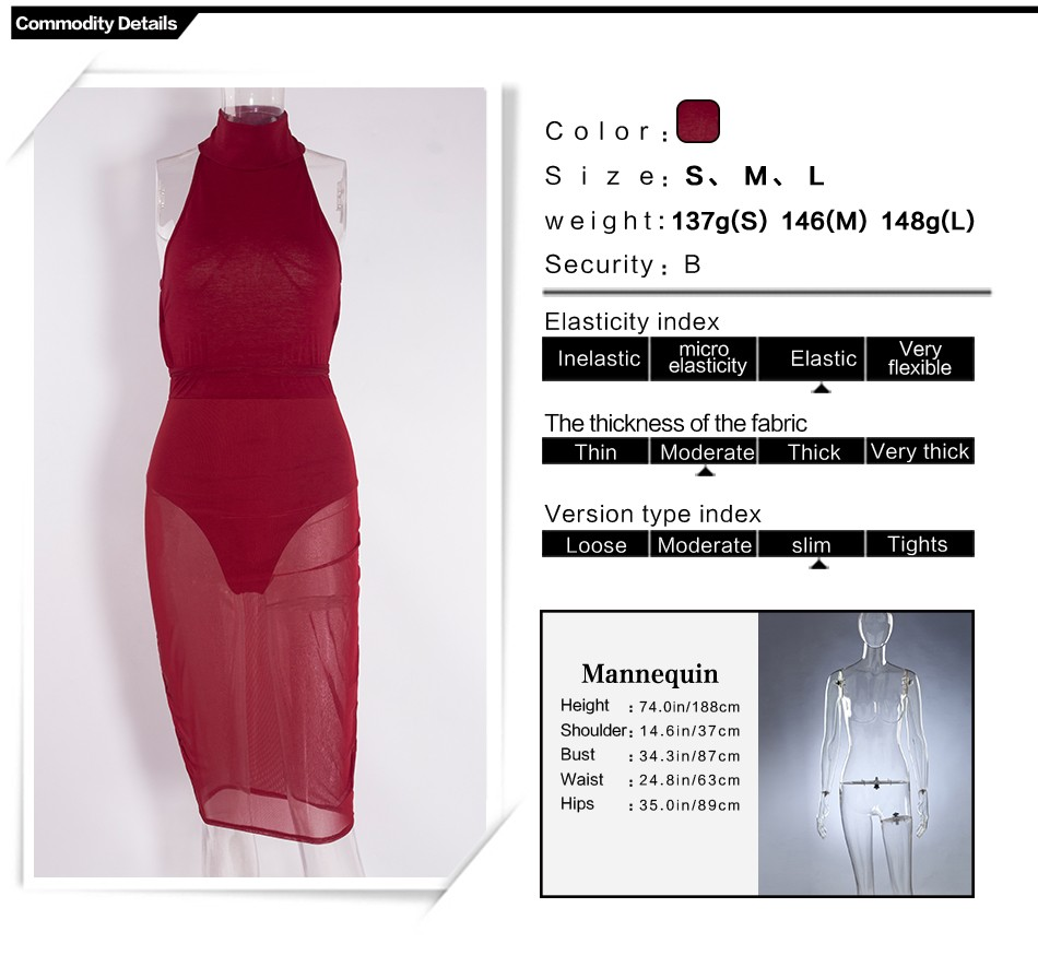 Sedrinuo Fashion Sexy Club Women Dress Slim Round Neck Backless Bodycon See Through Red Pencil Party Dresses Vestidos 4