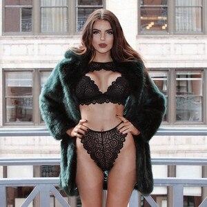 Прозрачный бюстгальтер и трусики размера плюс, женский сексуальный комплект нижнего белья, кружевной комплект нижнего белья пуш-ап, женское Сексуальное белье