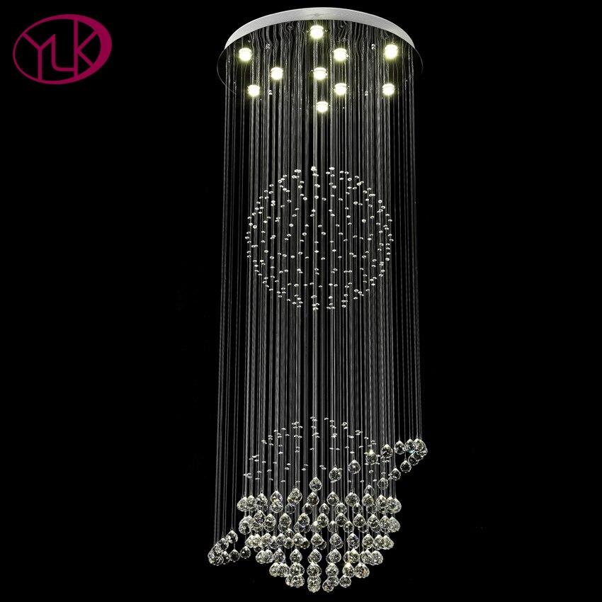 Youlaike Modern Stair Lighting Long Crystal Chandelier Large Flush Mount LED Indoor Hallway Light Fixture Hanging Cristal Lustre stair light