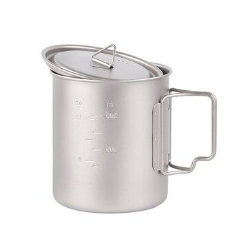 Taza De Agua Tiartisan De 750 Ml Taza De Té De Café De Titanio Con Mango Plegable Y Tapa Ventilada Taza De Agua Para Beber Solo Ultraligera Ta8315