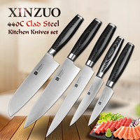 XINZUO 5 Pcs Kitchen Knife Set Paring Utility Cleaver Santoku Chef Knife 3 Layers 440C Clad