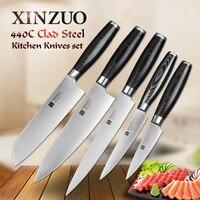 XINZUO 5 Pcs Kitchen Knife Set Paring Utility Cleaver Santoku Chef Knife 3 Layers 440C Clad
