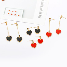 Geometric Heart Silver Gold Color Black Red Long Hook Trendy Elegant Hanging Drop Dangle Earrings for Women