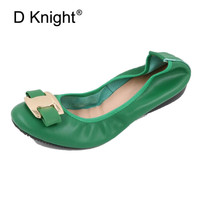 2018 New Women Flat Loafers Shoes Slip on Bow Metal Decoration Casual Ballet Flat Genuine Leather Women Ballerina Shoes Big Size