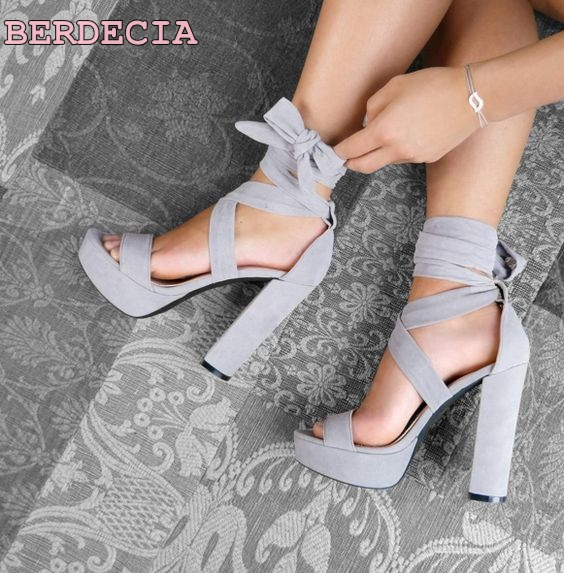 957c9ec0d5 roman new chunky heel sandals open toe lace up woman shoes grey suede  leather ankle strap platform sandals ladies sandals-in High Heels from  Shoes on ...