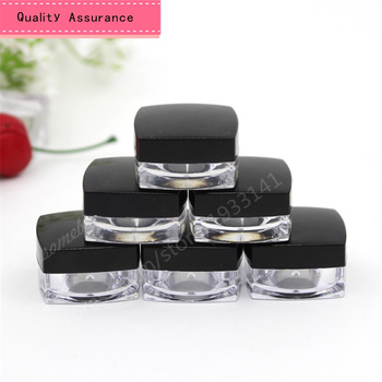 100pcs/lot 5g small square box cream bottle, cream box packing, small bottle of cosmetics packaging with black lid wholesale