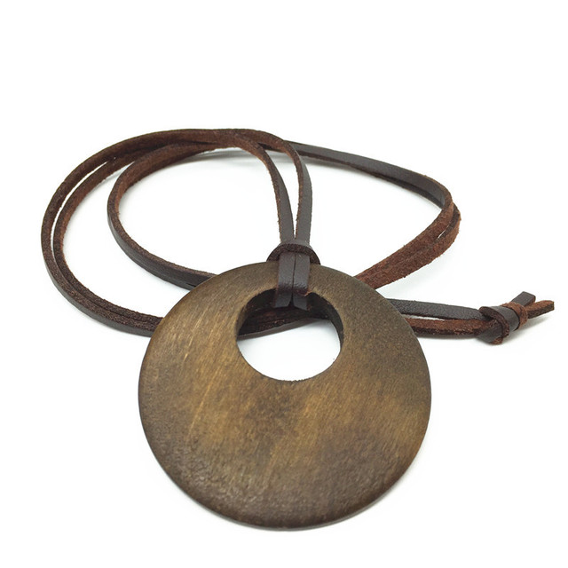 Vintage Nueva Manera Hecha A Mano Collar Largo de La Vendimia de LA PU Leathe Madera Colgantes Collares para Hombres de Las Mujeres Accesorio de La Joyería