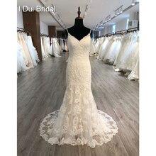 スパゲッティストラップ取り外し可能なチュールスカートのウェディングドレスレースアップリケの花嫁衣装