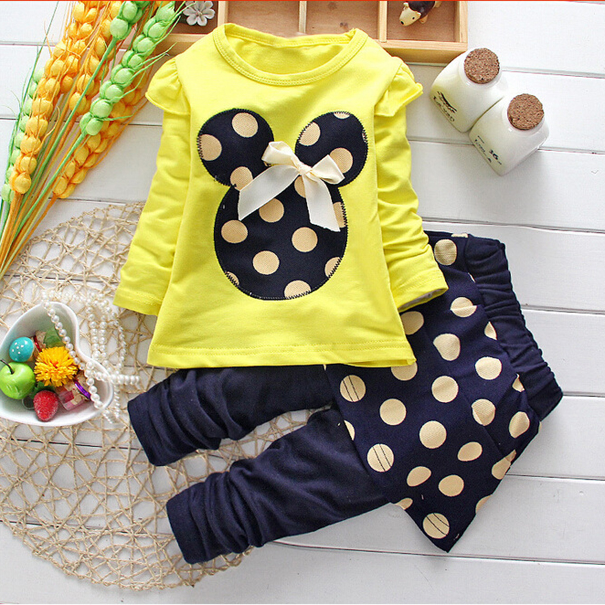 2 pcs Spring Autumn Baby Toddler Kids Suit Girls Clothing Sets Minnie Tops polka Dot T Shirt Pants skirt dress Outfits 2016 hot sweet baby kids girls 2pcs outfit clothes ruffled t shirt tops dot pants suit clothing sets ll6
