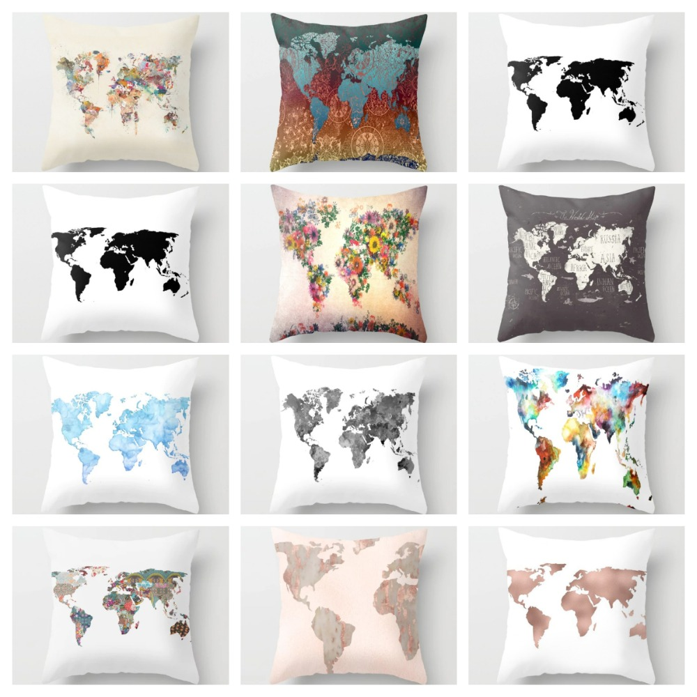ZENGIA World Map Cushion Cover Decor 45x45cm Polyester Decorative Pillows Cover For Sofa Troops Pink Throw Pillows Treat School