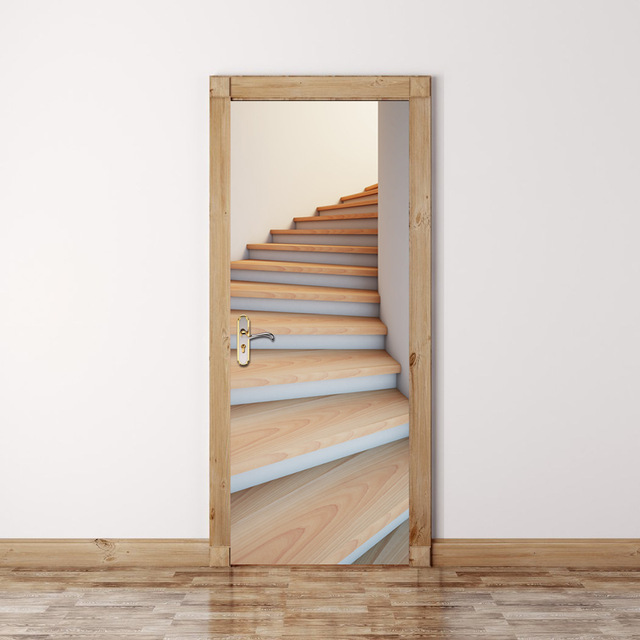 2 pcs/set New Wall Stickers 3D Wood Stairs Creative Door Stickers Bedroom Doors Renovation & 2 pcs/set New Wall Stickers 3D Wood Stairs Creative Door Stickers ...