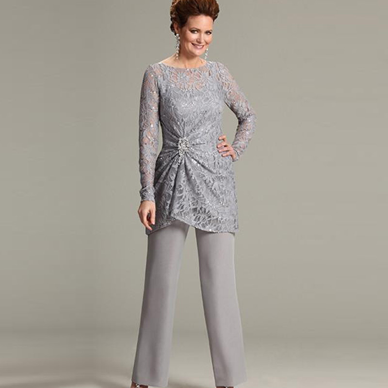 Ursula Of Switzerland Two Piece Mother The Bride Groom Pant Suits With Illusion Scoop Lace