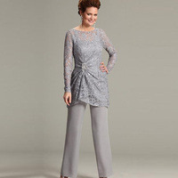 ursula of switzerland Two Piece Mother of the Bride Groom Pant Suits with Illusion Scoop Lace Long Sleeve Chiffon Plus Size