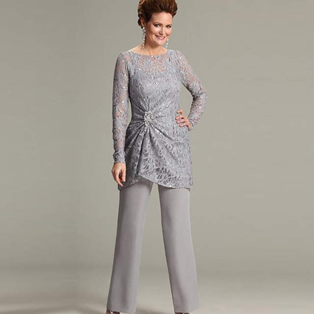 ab03201e1668 placeholder ursula of switzerland Two Piece Mother of the Bride Groom Pant  Suits with Illusion Scoop Lace