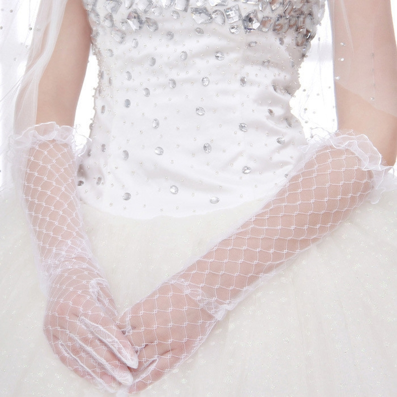 Women Lace Bridal Long Gloves Elbow Length Full Finger Wedding Accessories White Lace Gloves  Bridal Gloves Cheap