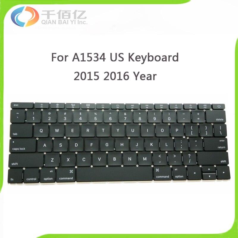 Original New A1534 Keyboard For Macbook 12 A1534 MF855LL/A MF865LL/A US Standard Keyboard 2015 2016 Year original new a1534 keyboard for macbook 12 a1534 mf855ll a mf865ll a us standard keyboard 2015 2016 year