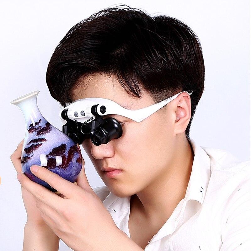 10X 15X 20X 25X šviečiantis šalmo didintuvas dvigubų akinių - Matavimo prietaisai - Nuotrauka 6