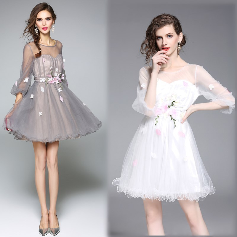 2019 New Arrival Homecoming Dresses Girls Tulle Mini Round Neck Three Quarter Sleeve Sweet Cheap Graduation Party Dresses