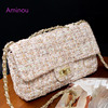 Aminou Flap Shoulder Bags Women Messenger Chains Croessbody Handbags For Teenager Girls High Quality Luxury Wool