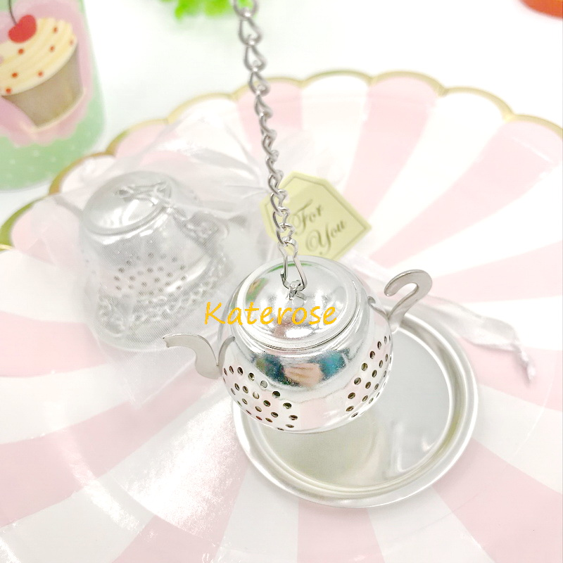 FREE SHIPPING 30pcs/Lot Tea Party Supplies Stainless Steel Round Teapot Tea Infusers Wedding Tea Strainer Favors-in Party Favors from Home & Garden    3