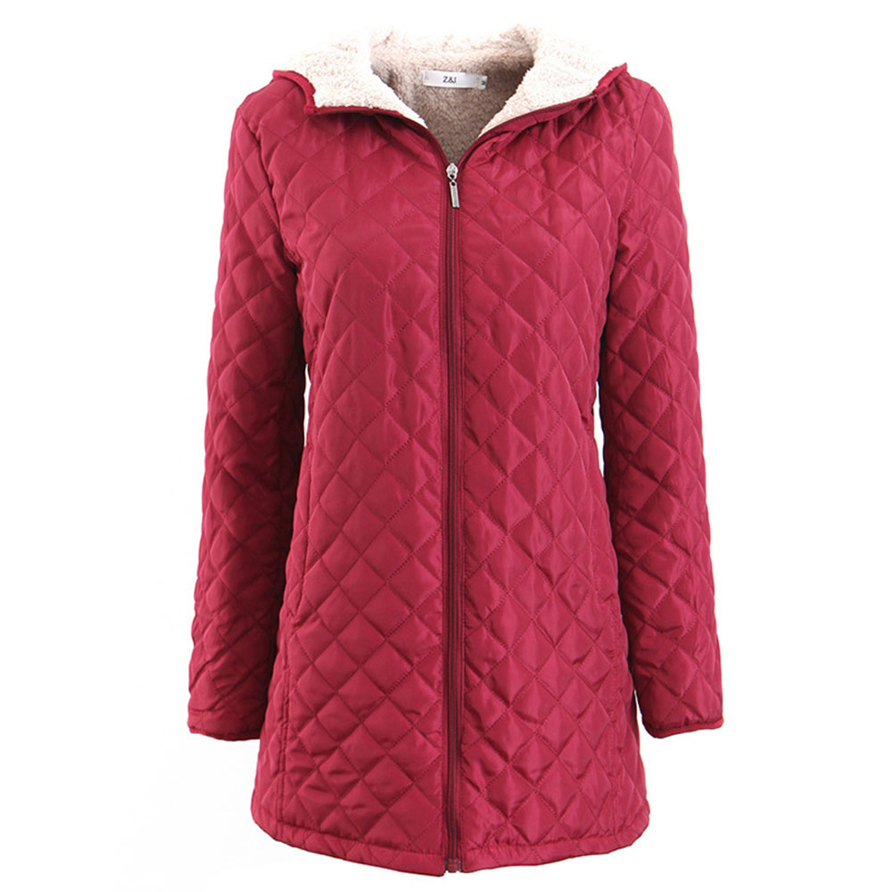Casual Winter Warm Red Office Ladies Plus Size Women Cotton Coats Slim Thick Hooded Zipper Plaid Jackets   Parkas   2019 Outwear