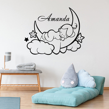 Cloud Moon Sleep Baby With Custom Name Wall Decoration Kids Baby Girls Room Decoration Beauty Cute Poster Mural For Bedroom W183 цена